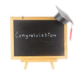 word -  congratulation  on board with graduation hat