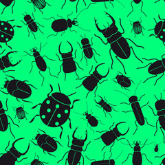 black bugs and beetles green seamless pattern eps10