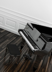 Open grand piano with a view of the keyboard