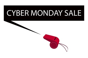 A Red Whistle Blowing Cyber Monday Banner
