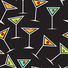 Seamless Background Pattern of  Alcoholic Cocktail Glass Vector