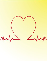 red heart beats cardiogram