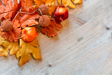 Autumn Leaves and Chinese Lanterns on Wood Surface