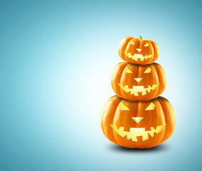 Festive pumpkin for Halloween in the form of a snowman
