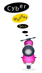 A Motorbike with Cyber Monday Sale Banner