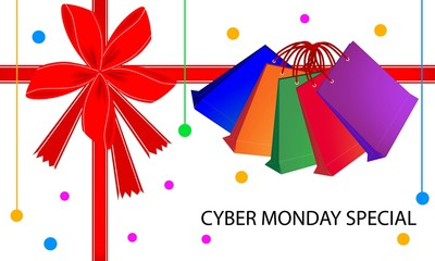 Cyber Monday Special Card with Shopping Bags