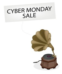 A Vintage Gramophone Playing Cyber Monday News