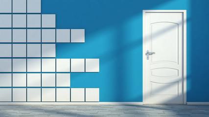 blue empty interior with white door