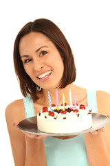 Frau mit Geburtstagstorte