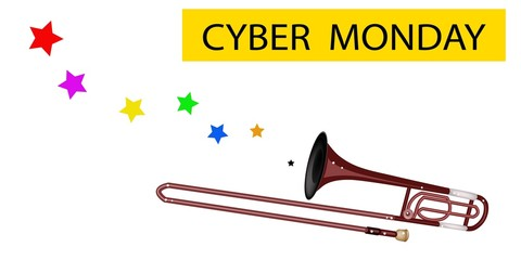 A Symphonic Trombone Blowing Cyber Monday Flag