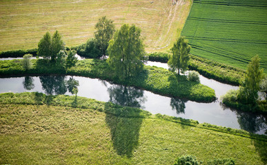 Aerial scenic landscape with a river in farmland