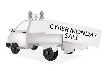 Cyber Monday Card on A Pickup Truck