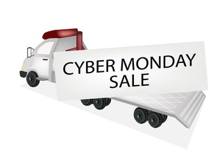Tractor Trailer Flatbed Loading Cyber Monday Card