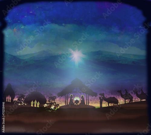 Biblical scene - birth of Jesus in Bethlehem. - 70258446