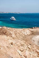 Boat Along Coastline of Red Sea at Hurghada