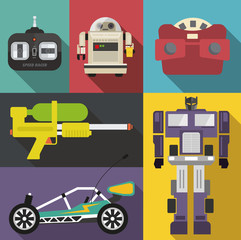 Vintage toy set in vector format
