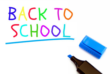 Colorful Back to school text on white background