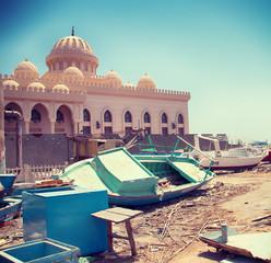 Boats Ashore Outside of El Mina Mosque