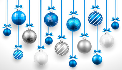 Christmas blue balls. Vector