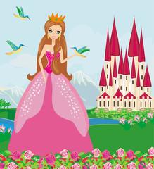 princess with birds in the garden