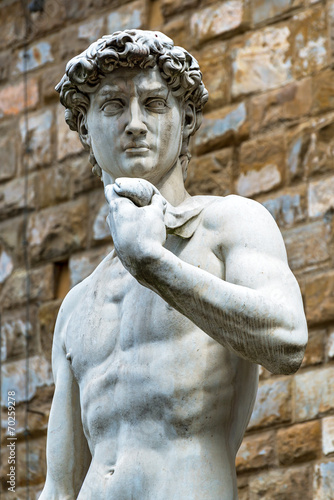 Statue of Michelangelo's David in front of the Palazzo Vecchio i