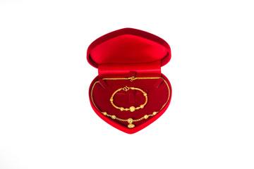 gold and red velvet box