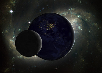 Moon and Earth with Milky Way