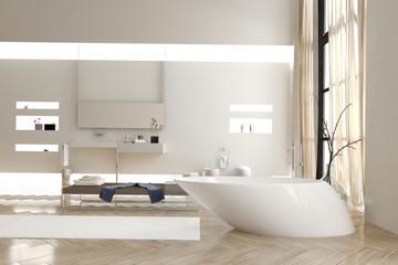 Modern bathroom with a funky white bathtub