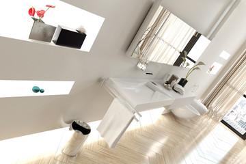 Interior of Modern White Bathroom in Apartment