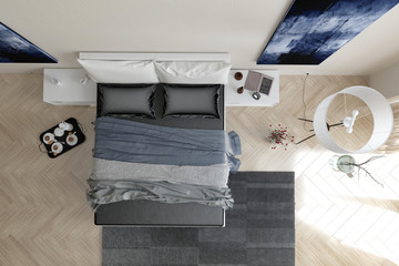Modern grey and white bedroom interior