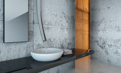 Close Up of Sink and Counter in Modern Bathroom