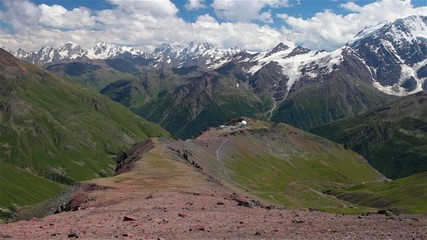 beautifull panorama of caucasus mountains and observatory