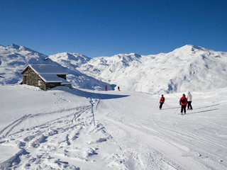 Skiers on a ski slope, picturesque chalet, the Alps, France