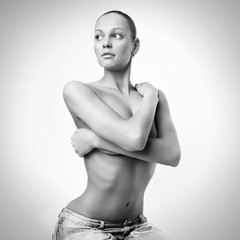 Black and white photo of beautiful woman.