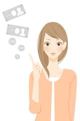 お金 ポイントを表示する笑顔の女性