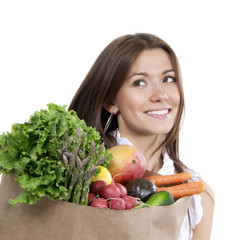 woman with supermarket shopping bag full of groceries fruits and