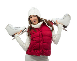 Young woman showing ice skates for winter ice skating sport