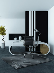 Modern office interior with a curved desk
