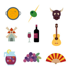 Spain vector icons set