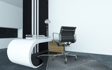 Modular curved modern white desk in an office poster