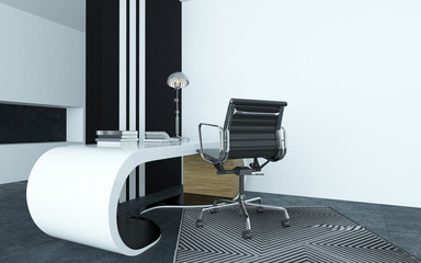 Modular curved modern white desk in an office