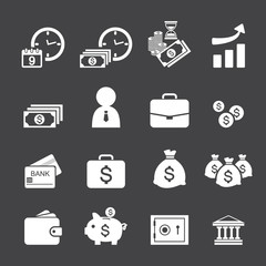 money and finance icon set