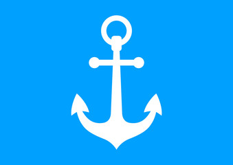 White anchor icon on blue background