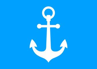 White anchor icon on blue background