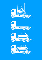 White tow truck icons on blue background