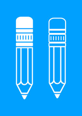 White pencil icons on blue background