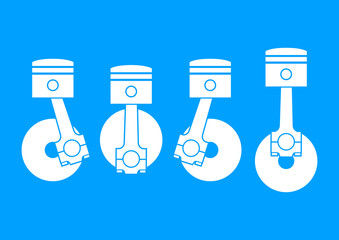 White car pistons on blue background