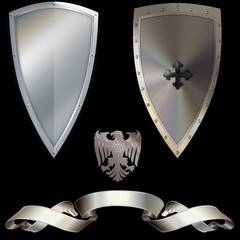 Shield and banner.