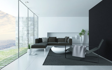 Charcoal grey and white modern lounge interior