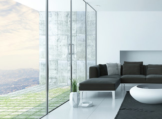 Modern living room with panoramic view windows